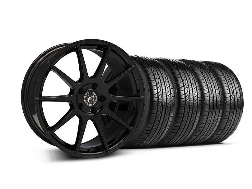 Staggered Forgestar CF10 Monoblock Piano Black Wheel & Pirelli Tire Kit - 19x9/10 (05-14 All)