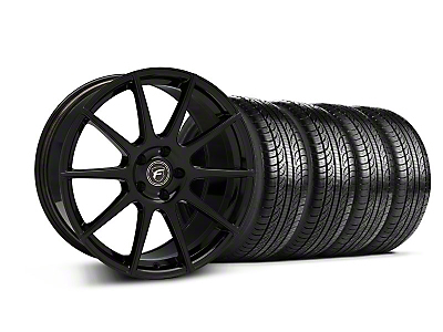 Forgestar Staggered CF10 Monoblock Piano Black Wheel & Pirelli Tire Kit - 19x9/10 (05-14 All)