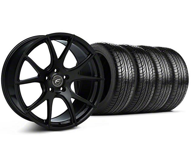 Staggered Forgestar CF5V Monoblock Piano Black Wheel & Pirelli Tire Kit - 19x9/10 (05-14 All)