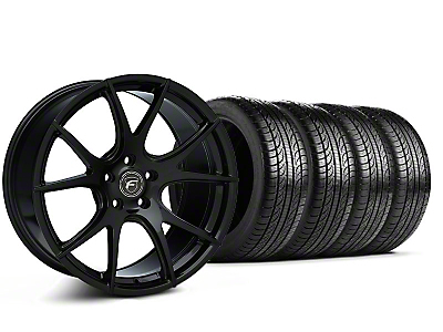 Staggered Piano Black Forgestar CF5V Monoblock Wheel & Pirelli Tire Kit - 19x9/10 (05-14 All)