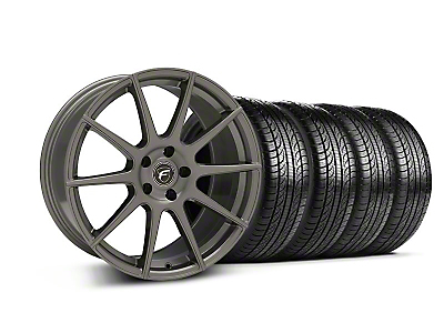Staggered Gunmetal Forgestar CF10 Monoblock Wheel & Pirelli Tire Kit - 19x9/10 (05-14 All)