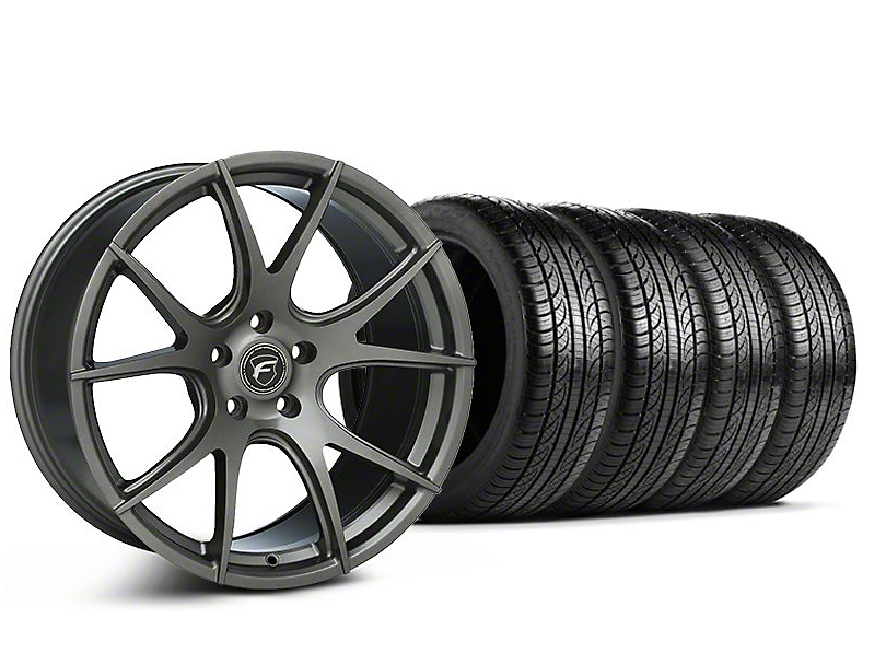 Staggered Forgestar CF5V Monoblock Gunmetal Wheel & Pirelli Tire Kit - 19x9/10 (05-14 All)