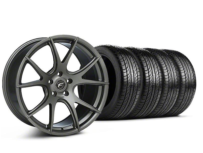 Staggered Forgestar CF5V Monoblock Gunmetal Wheel & Pirelli Tire Kit - 19x9/10 (05-14 All)