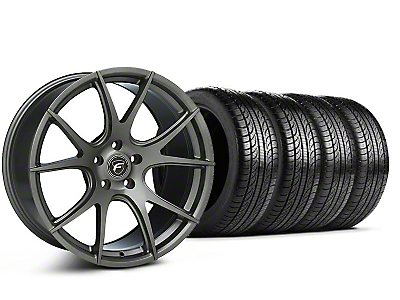 Forgestar Staggered CF5V Monoblock Gunmetal Wheel & Pirelli Tire Kit - 19x9/10 (05-14 All)