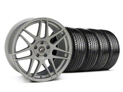 Forgestar Staggered F14 Monoblock Silver Wheel & Pirelli Tire Kit - 19x9/10 (05-14 All)