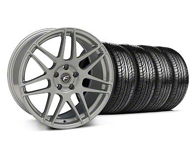 Staggered Forgestar F14 Monoblock Silver Wheel & Pirelli Tire Kit - 19x9/10 (05-14 All)