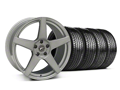 Staggered Silver Forgestar CF5 Monoblock Wheel & Pirelli Tire Kit - 19x9/10 (05-14 All)