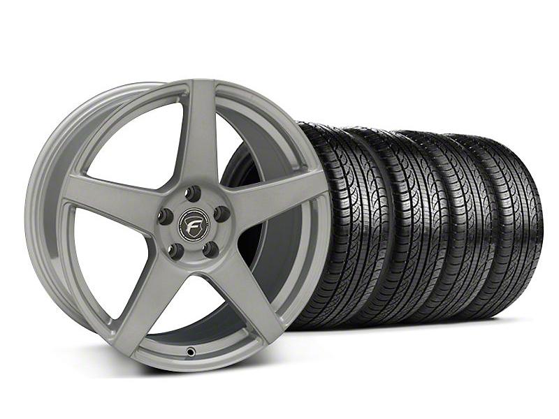 Staggered Forgestar CF5 Monoblock Silver Wheel & Pirelli Tire Kit - 19x9/10 (05-14 All)