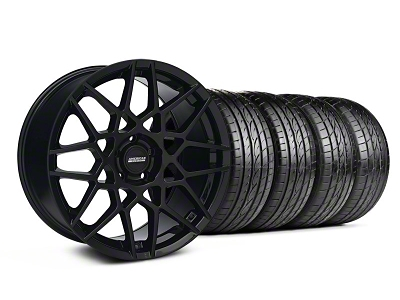 Staggered 2013 GT500 Style Gloss Black Wheel & Sumitomo Tire Kit - 19x8.5/10 (05-14 GT, V6)