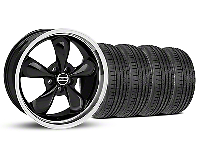 Staggered Black Bullitt Mustang Wheel & Sumitomo Tire Kit - 19x8.5/10 (05-14 GT, V6)