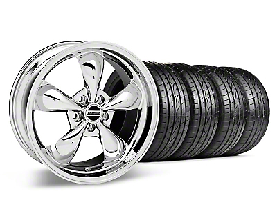 Staggered Chrome Deep Dish Bullitt Mustang Wheel & Sumitomo Tire Kit - 19x8.5/10 (05-14 GT, V6)
