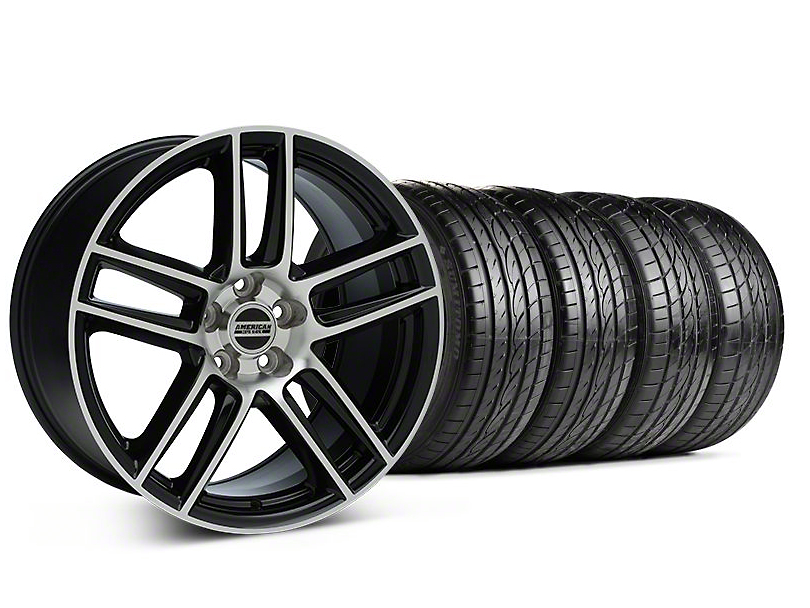 Staggered Laguna Seca Style Black Machined Wheel & Sumitomo Tire Kit - 19x9/10 (05-14 All)