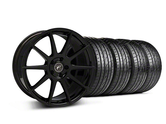 Forgestar Staggered CF10 Monoblock Piano Black Wheel & Sumitomo Tire Kit - 19x9/10 (05-14 All)