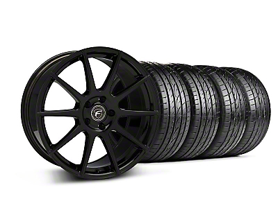 Staggered Piano Black Forgestar CF10 Monoblock Wheel & Sumitomo Tire Kit - 19x9/10 (05-14 All)