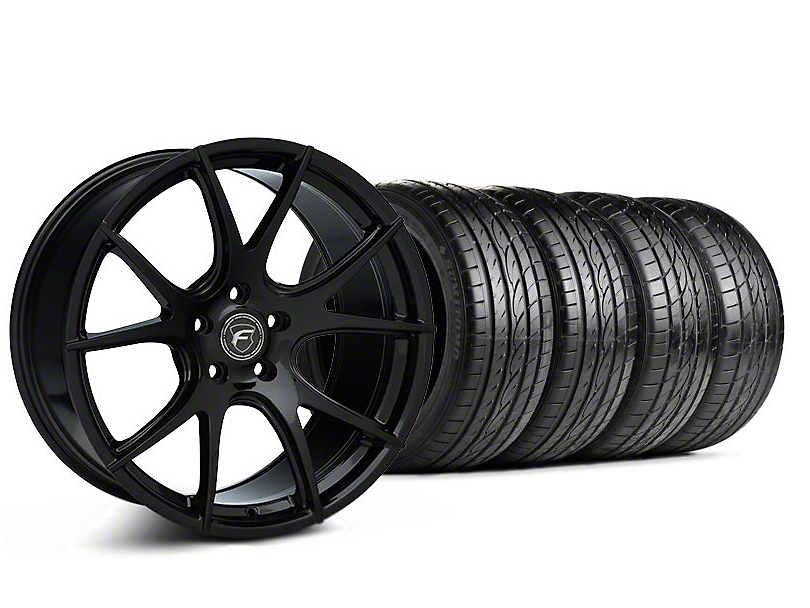 Forgestar Staggered CF5V Monoblock Piano Black Wheel & Sumitomo Tire Kit - 19x9/10 (05-14 All)