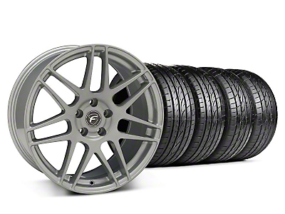 Staggered Silver Forgestar F14 Monoblock Wheel & Sumitomo Tire Kit - 19x9/10 (05-14 All)