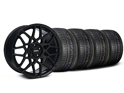 Staggered 2013 GT500 Style Gloss Black Wheel & NITTO INVO Tire Kit - 19x8.5/10 (05-14 GT, V6)