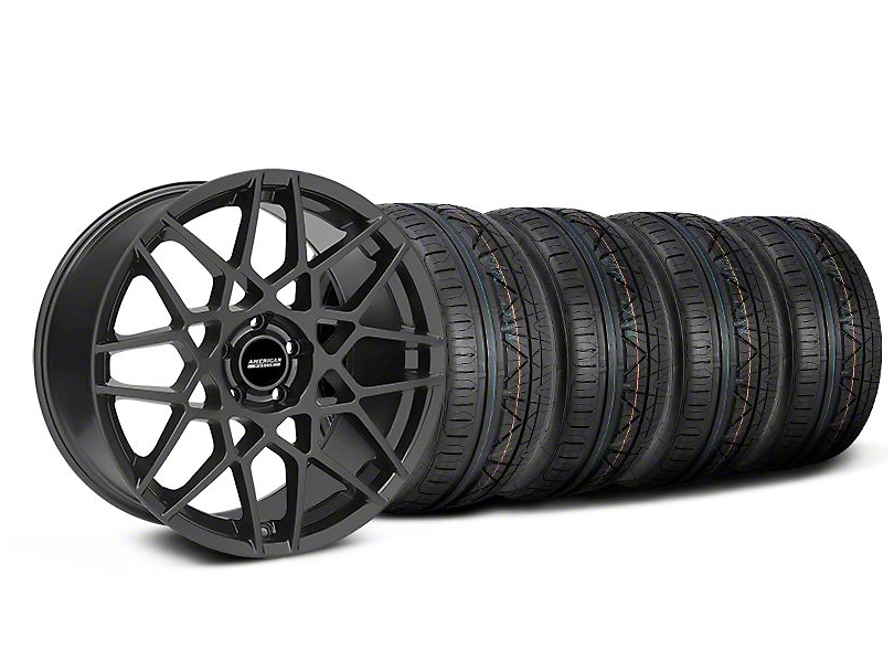 Staggered 2013 GT500 Style Charcoal Wheel & NITTO INVO Tire Kit - 19x8.5/10 (05-14 GT, V6)