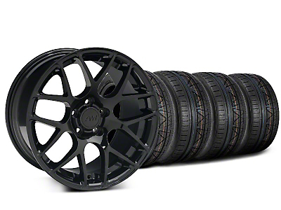 Staggered Black AMR Style Wheel & NITTO INVO Tire Kit - 19x8.5/10 (05-14 All)