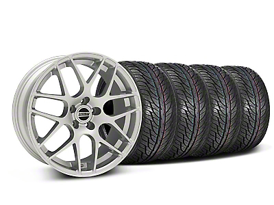 Staggered Silver AMR Style Wheel & General Tire Kit - 19x8.5/10 (05-14)