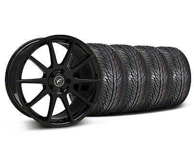Forgestar Staggered CF10 Monoblock Piano Black Wheel & General Tire Kit - 19x9/10 (05-14 All)