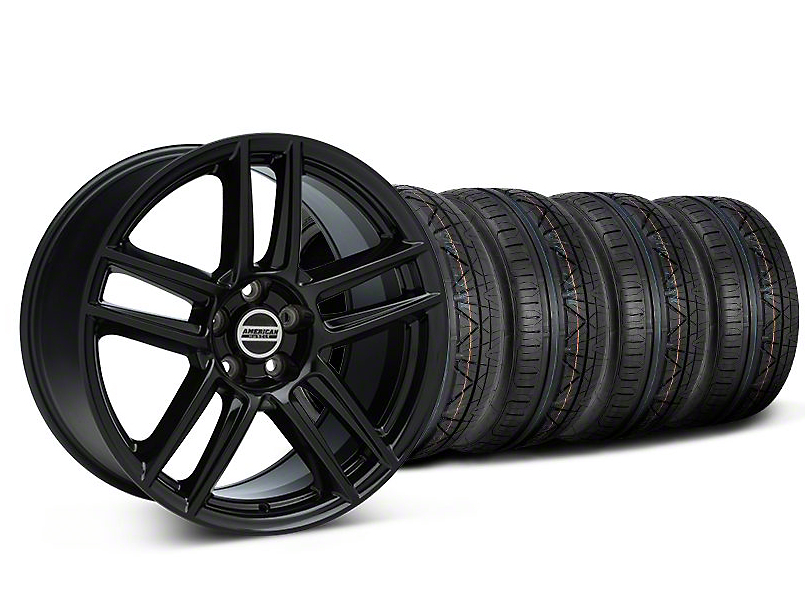 Staggered Laguna Seca Style Black Wheel & NITTO INVO Tire Kit - 19x9/10 (05-14 All)