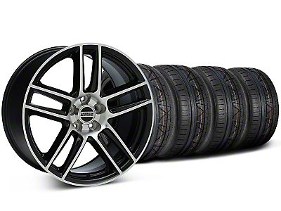Staggered Black Machined Boss Laguna Style Wheel & NITTO INVO Tire Kit - 19x9/10 (05-14 All)