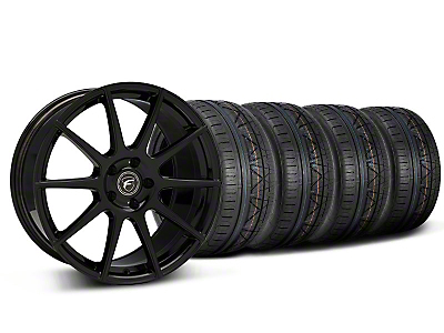Forgestar Staggered CF10 Monoblock Piano Black Wheel & NITTO INVO Tire Kit - 19x9/10 (05-14 All)