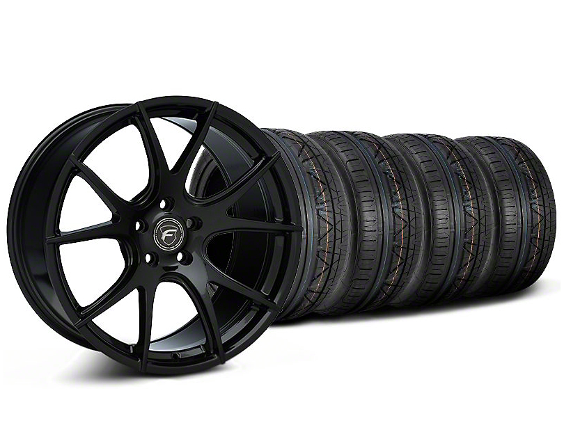 Staggered Forgestar CF5V Monoblock Piano Black Wheel & NITTO INVO Tire Kit - 19x9/10 (05-14 All)