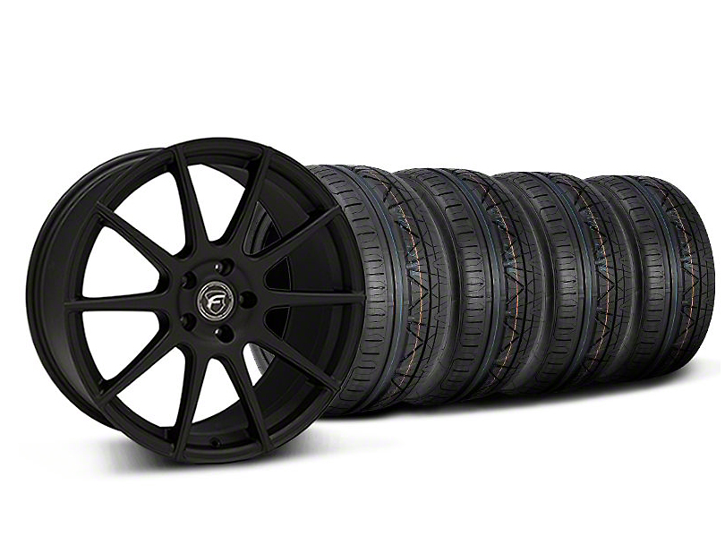 Staggered Forgestar CF10 Monoblock Textured Black Wheel & NITTO INVO Tire Kit - 19x9/10 (05-14 All)