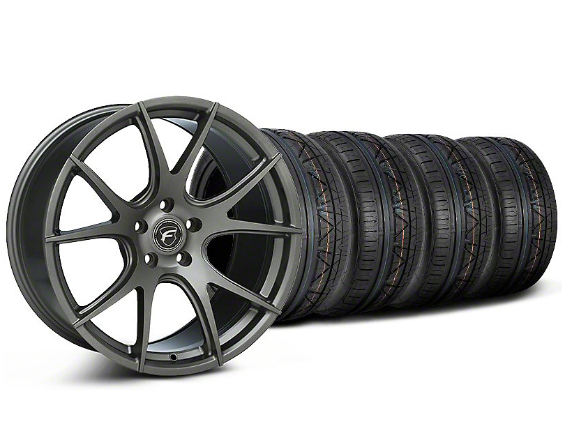 Staggered Forgestar CF5V Monoblock Gunmetal Wheel & NITTO INVO Tire Kit - 19x9/10 (05-14 All)