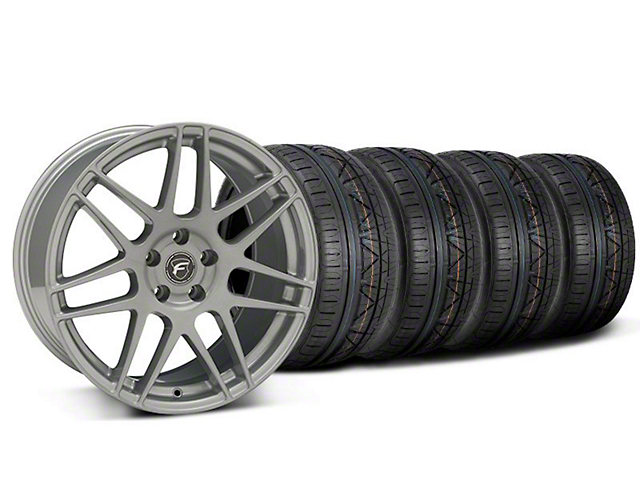 Staggered Forgestar F14 Monoblock Silver Wheel & NITTO INVO Tire Kit - 19x9/10 (05-14 All)