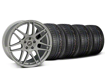 Staggered Silver Forgestar F14 Monoblock Wheel & NITTO INVO Tire Kit - 19x9/10 (05-14 All)