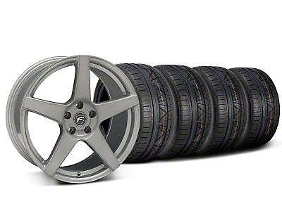 Staggered Forgestar CF5 Monoblock Silver Wheel & NITTO INVO Tire Kit - 19x9/10 (05-14 All)