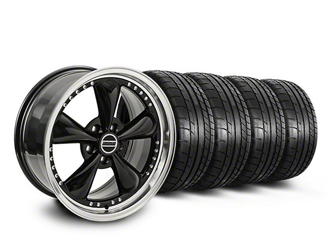 Staggered Bullitt Motorsport Black Wheel & Mickey Thompson Tire Kit - 20x8.5/10 (05-14 V6; 05-10 GT)