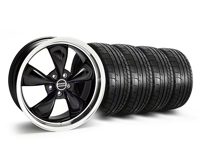 Staggered Deep Dish Bullitt Black Wheel & Mickey Thompson Tire Kit - 20x8.5/10 (05-14 V6; 05-10 GT)