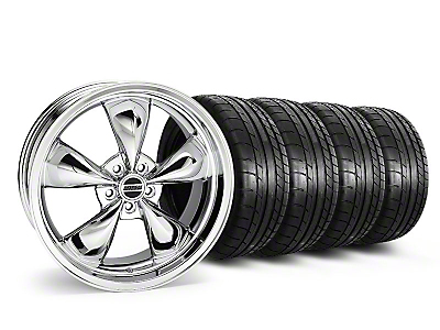 Staggered Chrome Deep Dish Bullitt Wheel & Mickey Thompson Tire Kit - 20x8.5/10 (05-10 GT, V6)