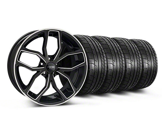 Staggered Foose Outcast Black Machined Wheel & Mickey Thompson Tire Kit - 20x8.5/10 (05-14 All)