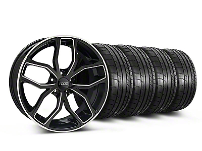 Foose Staggered Outcast Black Machined Wheel & Mickey Thompson Tire Kit - 20x8.5/10 (05-14 All)