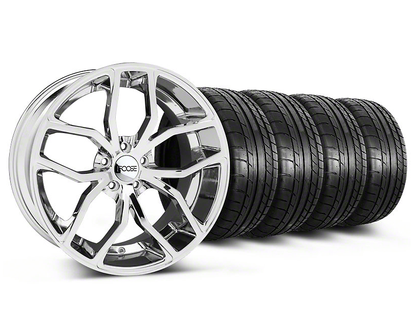 Staggered Foose Outcast Chrome Wheel & Mickey Thompson Tire Kit - 20x8.5/10 (05-14 All)