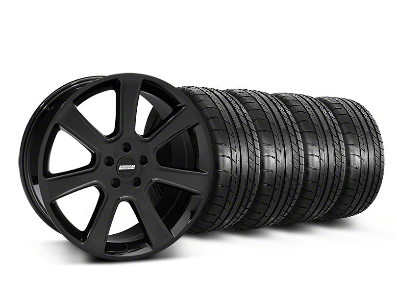 Staggered S197 Saleen Style Black Wheel & Mickey Thompson Tire Kit - 20x9/10 (05-14 All)
