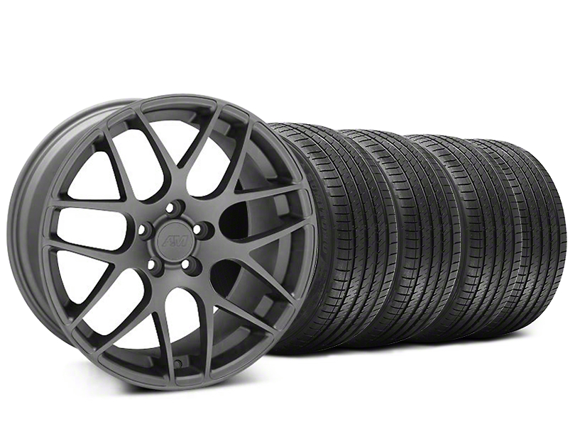 Staggered AMR Charcoal Wheel & Sumitomo Tire Kit - 20x8.5/10 (05-14 All)