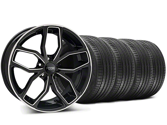 Staggered Foose Outcast Black Machined Wheel & Sumitomo Tire Kit - 20x8.5/10 (05-14 All)