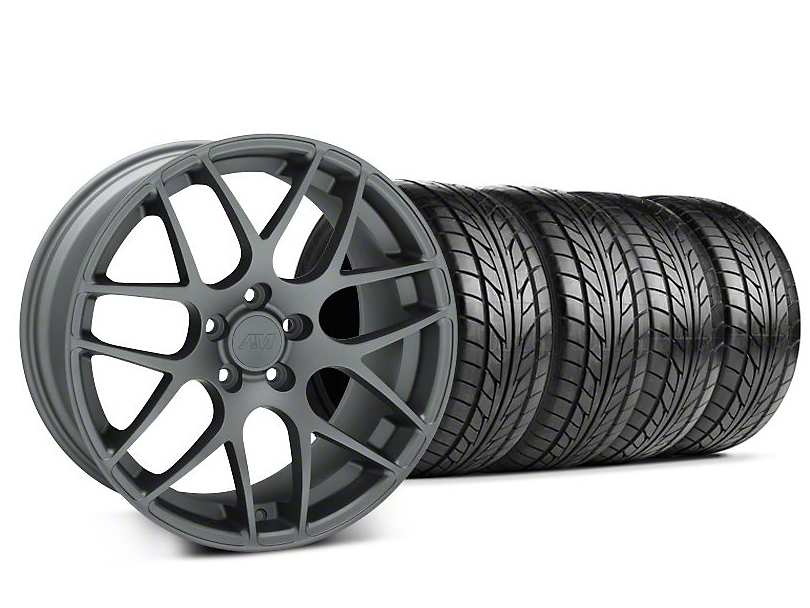 Staggered AMR Charcoal Wheel & NITTO Tire Kit - 20x8.5/10 (05-14)