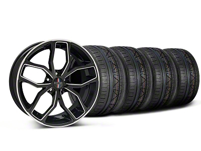 Foose Staggered Outcast Black Machined Wheel & NITTO Tire Kit - 20x8.5/10 (05-14 All)