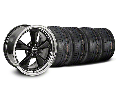 Staggered Bullitt Motorsport Black Wheel & NITTO INVO Tire Kit - 20x8.5/10 (05-14 GT, V6)