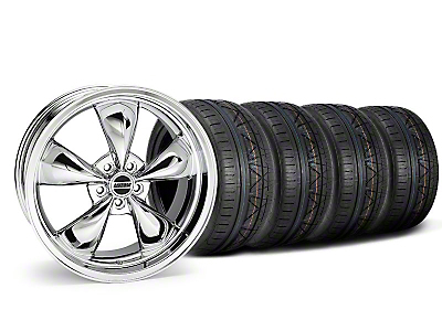 Staggered Deep Dish Bullitt Chrome Wheel & NITTO INVO Tire Kit - 20x8.5/10 (05-10 GT, V6)