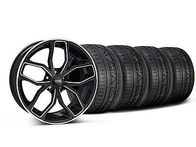 Foose Staggered Outcast Black Machined Wheel & NITTO INVO Tire Kit - 20x8.5/10 (05-14 All)