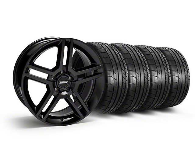 Staggered 2010 GT500 Style Black Wheel & Mickey Thompson Tire Kit - 19x8.5/10 (05-14 All)