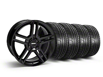 Staggered Black 2010 GT500 Style Mustang Wheel & Mickey Thompson Tire Kit - 19x8.5/10 (05-14 All)
